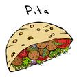 falafel pita or meatball salad in pocket bread vector image vector image