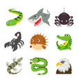 funny animal reptile cartoon vector image