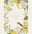 greeting card with bird and flowers vector image vector image