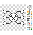 hammers pool nodes icon with bonus vector image vector image