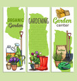 hand drawn gardening banners vector image vector image