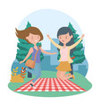 happy women picnic blanket nature outdoor vector image vector image