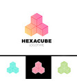 Hexagon cube 3d sector group logo package box
