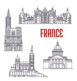 Historic buildings and sightseeings of France vector image vector image