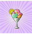 ice cream in glass three flavours pop art hand vector image vector image