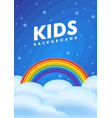 kids background night sky with a rainbow clouds vector image vector image