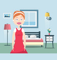 lady of the house happy woman in bedroom interior vector image vector image