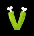 letter v zombie font monster alphabet bones vector image vector image