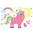magic unicorn and bird vector image