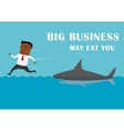 Manager running away from big business shark vector image