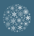 merry christmas card with snowflakes in round vector image vector image