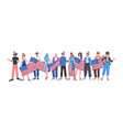 mix race people in festive hats holding usa flags vector image vector image