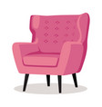 modern pink soft armchair with upholstery vector image vector image