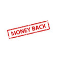 money back stamp texture rubber cliche imprint vector image vector image