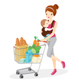 Mother Carries Baby And Pushing Shopping Cart vector image vector image