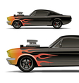 muscle car with flames vector image vector image