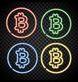 neon bitcoin symbol isolated on black background vector image