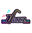 neon jazz saxophone white background image vector image vector image