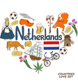 Netherlands symbols in heart shape concept vector image vector image