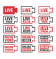 online stream icons live broadcastig signs set vector image