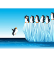 Penguin jumping in the ocean vector image vector image