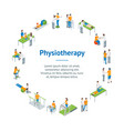 physiotherapy people banner card circle 3d vector image vector image