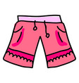 pink woman shorts on white background vector image vector image