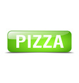 pizza green square 3d realistic isolated web vector image vector image