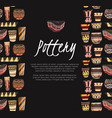 pottery lessons flat clay vases and pots vector image vector image
