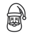 santa claus face line icon new year and christmas vector image