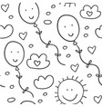 seamless pattern with clouds balloons and hearts vector image