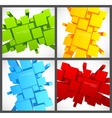 Set of backgrounds with 3d squares vector image