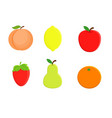 set of cartoon fruit lemon orange apple pea vector image