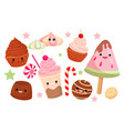 set of cute sweet icons vector image