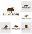 set rhino logo design template rhino vector image vector image