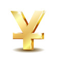 shiny golden yuan currency symbol isolated vector image