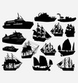 ship and boat transportation silhouette vector image