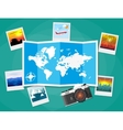 Travel photos with camera and map vector image vector image