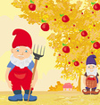 two dwarfs and apple tree in autumn vector image