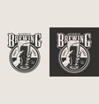 vintage brewing monochrome round print vector image vector image