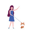 woman walking with little dog isolated icon white vector image