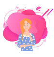 young woman posing touching chin image vector image