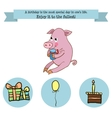 Congratulations birthday with a character pig vector image