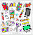 art tools doodle painting stickers with paints vector image vector image