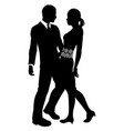 attractive couple silhouette vector image