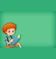 background template design with happy boy reading