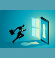 businessman running into a smart phone vector image vector image