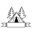 camping tent tree vector image