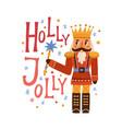 christmas card with nutcracker snowflakes vector image vector image