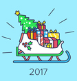 Christmas Slay with Tree and gifts. vector image vector image